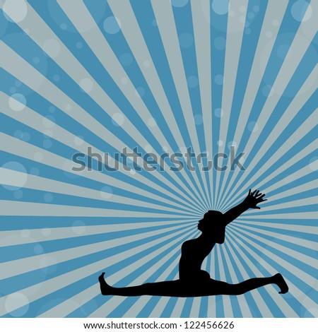 Yoga silhouette in hanumanasana