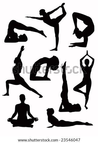 Yoga silhouette - vector - stock vector