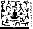 yoga silhouettes - stock photo