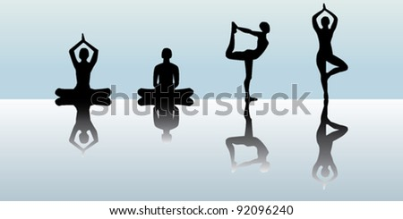 Yoga silhouettes set - stock vector