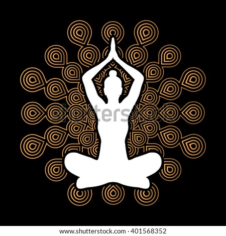 Yoga Sitting pose designed on fireworks background graphic vector. - stock vector