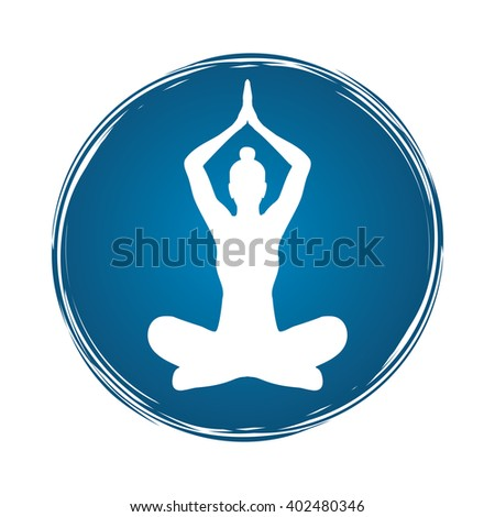 Yoga Sitting pose designed on grunge circle frame graphic vector. - stock vector