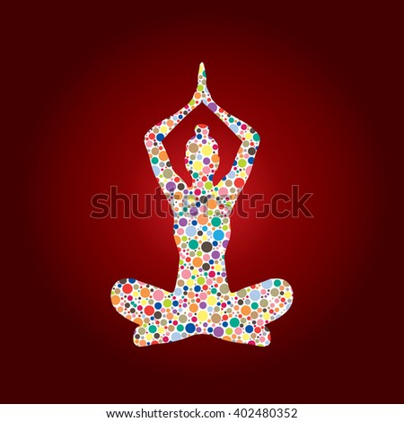 Yoga Sitting pose designed using colorful halftone graphic vector. - stock vector
