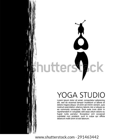 Yoga studio, fitness and meditation class. Logos and badges. Symbol of man. Flat vector illustration