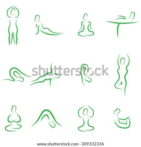 yoga symbols - stock vector