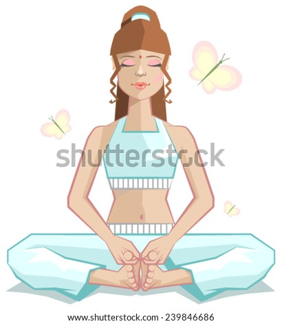 Yoga. The girl meditates in a pose of a butterfly. Illustration in vector format - stock vector