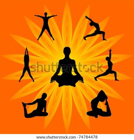 yoga vector - stock vector