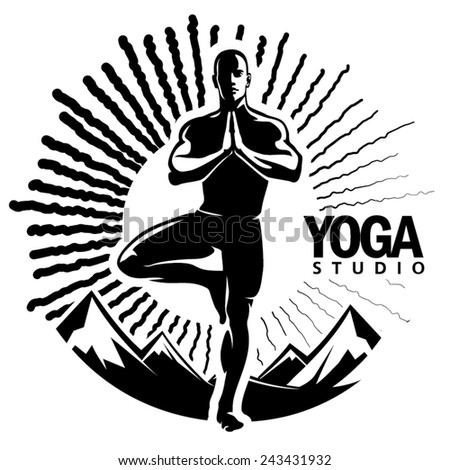 Yoga. Vector illustration in the engraving style - stock vector