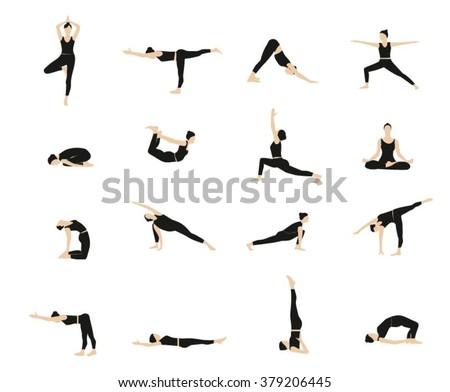 yoga vector set women yoga poses stock vector 379206445