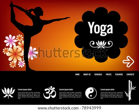 Yoga website template, with oriental icons - stock vector