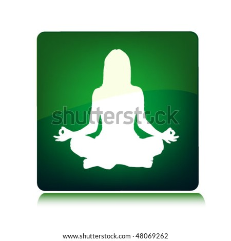yoga woman on the green background - stock vector