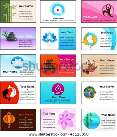 Yoga,Zen and alternative medicine business card templates - vector illustration - stock vector