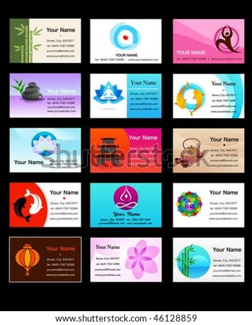 Yoga, Zen  and alternative medicine business card templates - vector illustration