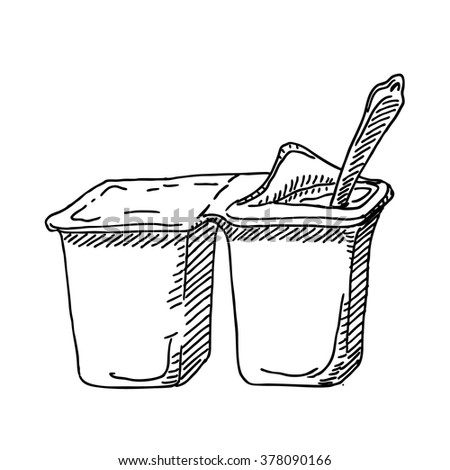 Yoghurt or yogourt plastic container and spoon  sketch  drawing. Vintage  line style illustration.  For restaurant and  cafe design  - stock vector