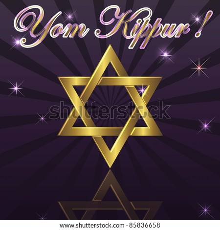 Yom Kippur a background with gold David star. eps10. Vector Illustration. - stock vector