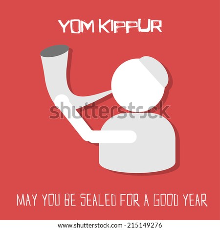 Yom Kippur greeting card. Man blowing horn on red background. Vector illustration. - stock vector