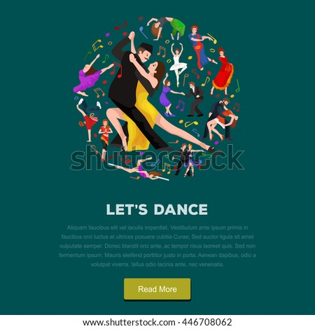 Yong couple man and woman dancing tango with passion, tango dancers vector illustration isolated on white Latin and ballroom dances, peoples dansing tango, girl and boy tangoing - stock vector