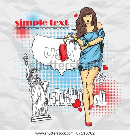 Yong girl in sketch-style on a usa-background. Vector illustration. - stock vector