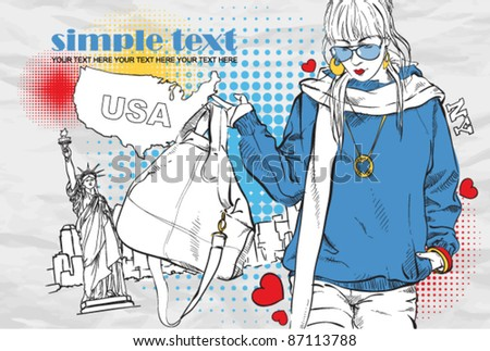Yong girl with bag in sketch-style on a usa-background. Vector illustration. - stock vector
