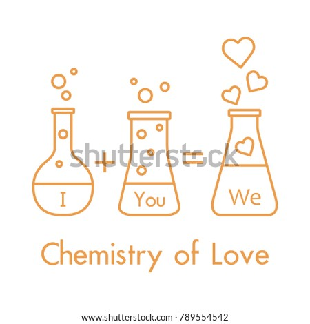 You And Me And Our Chemistry Of Love. Design For Banner, Poster Or Print