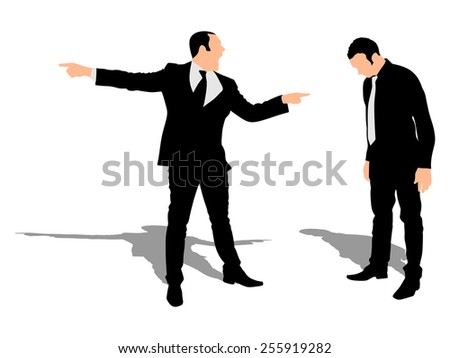 You are fired! Angry businessman shouting at his employee  - stock vector