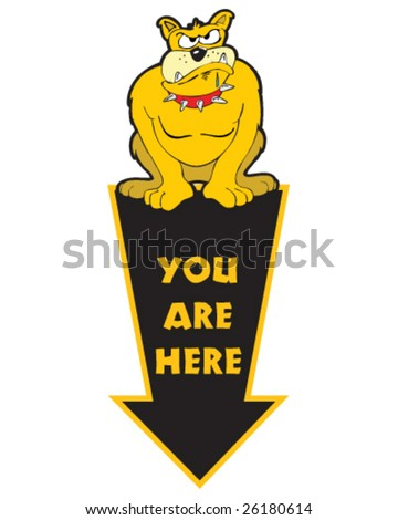 You are here arrow with bulldog - stock vector