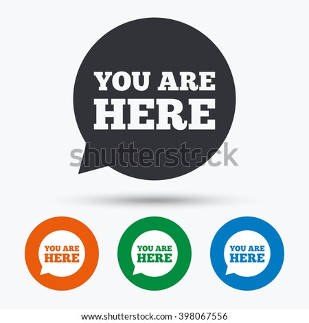 You are here icon. You are here flat symbol. You are here art illustration. You are here flat sign. You are here graphic icon. Flat icons in circles. Round buttons for web. - stock vector