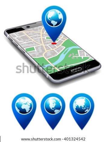 You are Here - Phone with Map Pointer Icon Cell Smart Mobile - stock vector