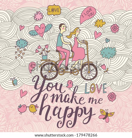 You make me happy. Romantic concept background in cute colors. Couple in love on tandem bicycle inside gentle symbols in vector - stock vector