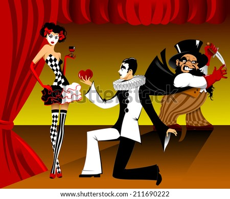 young actress dressed as Harlequin and a glass of red wine in hand - stock vector