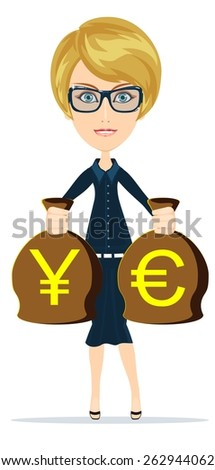 Young adult blonde business woman is holding in hands bags of money, prepositions you exchange them or present, vector illustration - stock vector