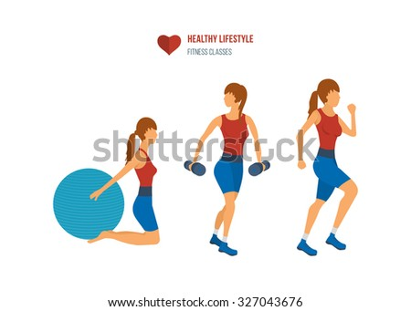Young adult exercising in fitness gym. Sport fitness friendly female  - stock vector
