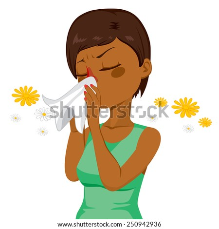 Young African American brunette woman sneezing blowing nose on white tissue because of spring allergy - stock vector