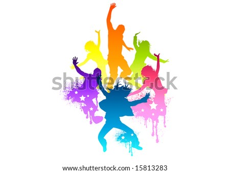 Young and fit people jumping with joy! Vector illustration.All elements are individual objects and no flattened transparencies. - stock vector