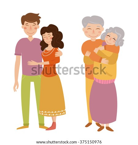 Young and old couple. Vector isolated illustration. Cartoon characters. - stock vector