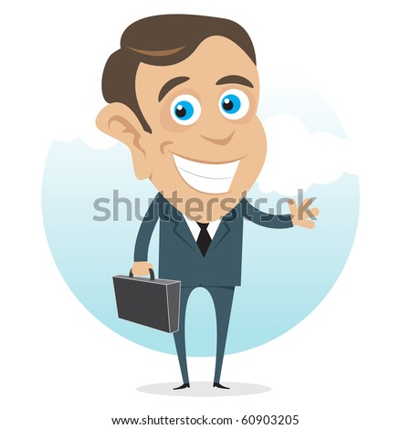 Young and successful business man cartoon. - stock vector