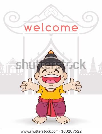 Young Asian boy playing water, Songkran Festival, Cartoon Vector illustration - stock vector