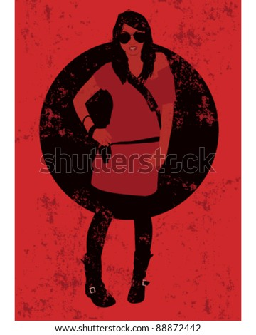 Young asian woman standing with hand on hip - stock vector