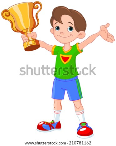 Young athlete holds a cup