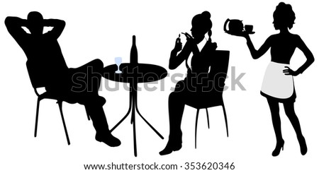 Young attractive couple enjoying drinking together in a restaurant, waitress serving  - stock vector