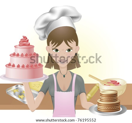 Young attractive woman holding two cakes. One pink one chocolate with chef hat and baking utensils - stock vector
