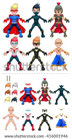 Young avatar superheroes. Vector isolated characters.  - stock vector