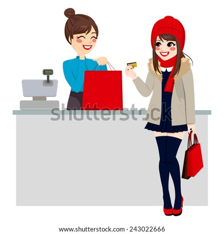 Young beautiful brunette woman paying purchase with credit card while store clerk is preparing shopping bag - stock vector