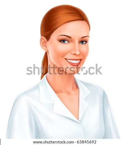 young beautiful business woman or doctor smiling in white shirt over white background. Vector - stock vector