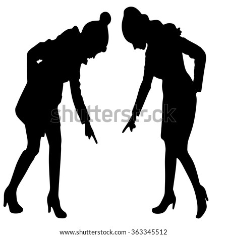 Young beautiful businesswoman and beautiful woman in warm clothing pointing down - stock vector