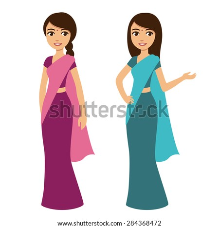 Young beautiful cartoon style Indian woman in traditional clothes isolated on white background. Two poses and color options.  - stock vector