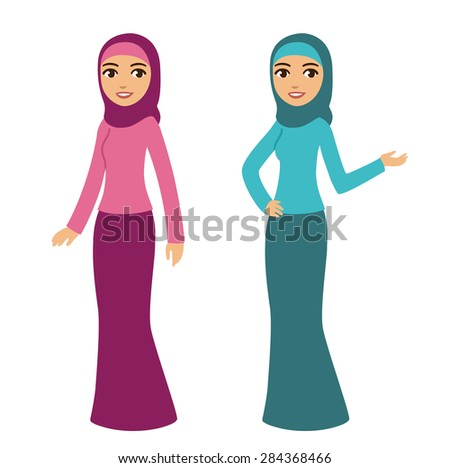 Young beautiful cartoon style muslim woman in traditional clothes isolated on white background. Two poses and color options.  - stock vector