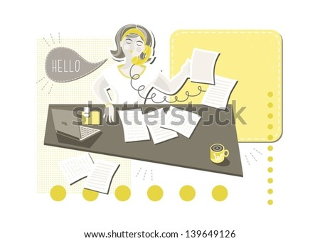 young beautiful caucasian type woman in her office doing paperwork answering phone call with blank yellow frame with place for your text cartoon illustration on white background - stock vector