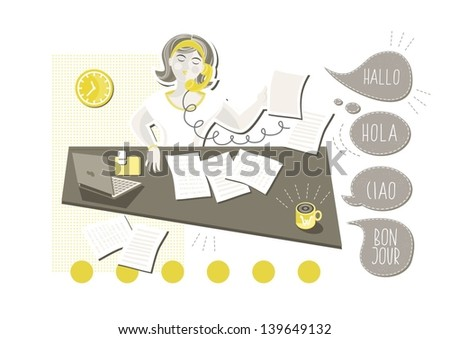 young beautiful caucasian type woman in her office doing paperwork answering phone call with talk bubbles in different languages cartoon illustration on white background - stock vector
