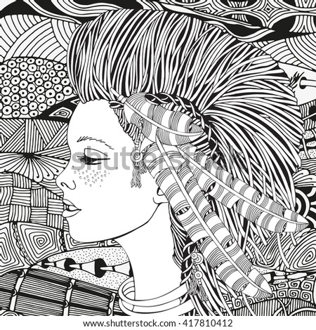 Young beautiful girl. American Indian woman. Feathers. Black and white artistically, tribal vector, ethnic pattern. Hand-drawn, ethnic, doodle, aztec, abstract, zentangle, tribal design elements.  - stock vector